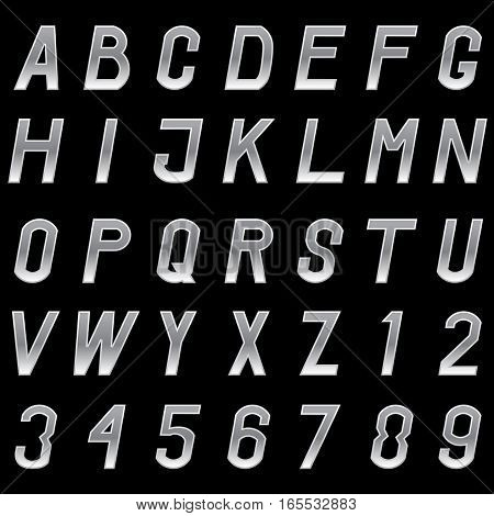 Vector set of grey metal alphabet letters and numbers.