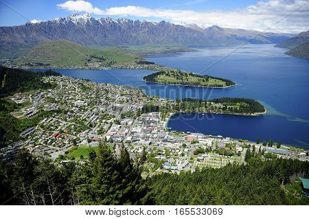 View of Queenstown New Zealand and Lake Wakatipu.