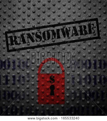 Ransomeware text with red lock on metal