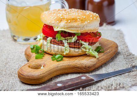 Homemade Hamburger With Fresh Vegetables.