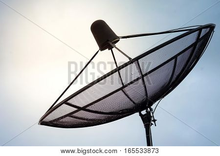 A satellite dish on the sky background