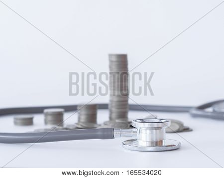 Stethoscope And Coin Stack On White Background. Money For Health Care, Financial Aid, Concept.