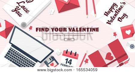 Flat Background With Paper, Envelope. Love, Hearts. Valentines Day. Be My Valentine. 14 February.vec