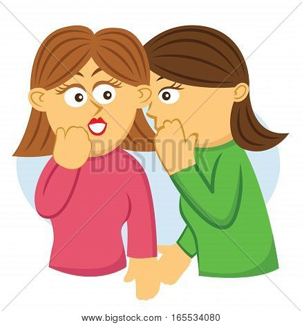 Two Girls Gossiping Cartoon Illustration Isolated on White