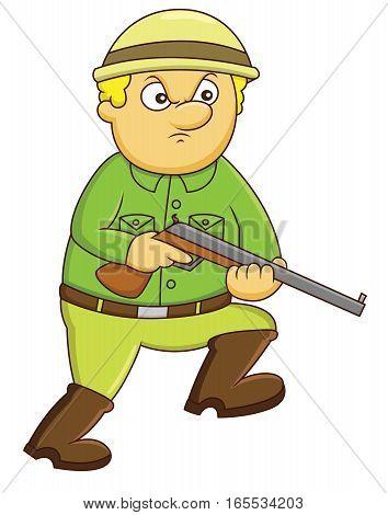 Hunter with Rifle Gun Cartoon Illustration Isolated on White