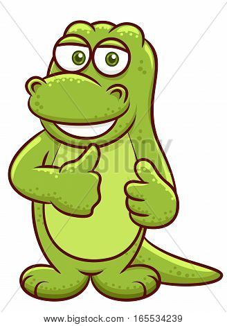 Komodo Dragon Cartoon Illustration Isolated on White