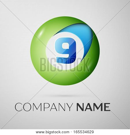 Number nine vector logo symbol in the colorful circle on grey background. Vector template for your design