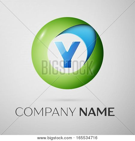 Letter Y vector logo symbol in the colorful circle on grey background. Vector template for your design