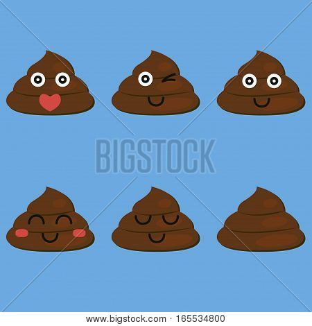 set of cut poop emoticon smileys isolated - vector