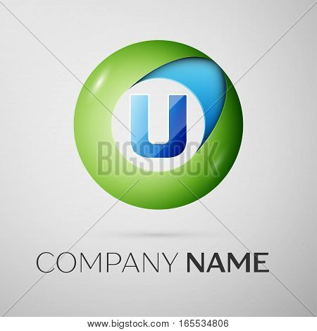 Letter U vector logo symbol in the colorful circle on grey background. Vector template for your design