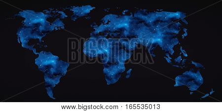 flat world map with space stars. 3d rendering