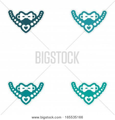 Set of paper stickers on white background tie and necklaces