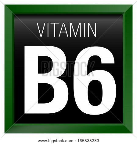 VITAMIN B6 Icon - Chemistry - Green square frame with black background