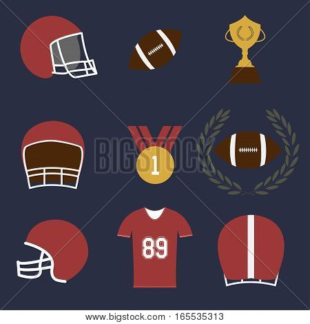 american football game sport icons set - vectors