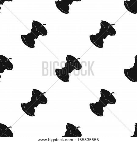 Stub of apple icon in black style isolated on white background. Trash and garbage pattern vector illustration.