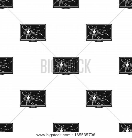 Broken television icon in black style isolated on white background. Trash and garbage pattern vector illustration.