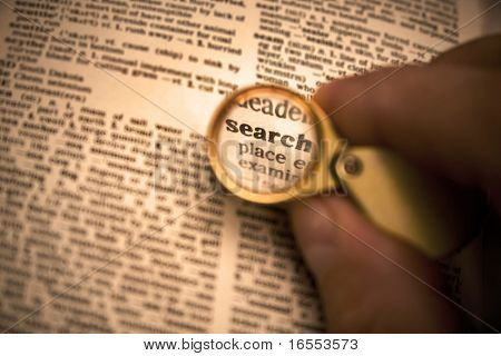 Dictionary definition of the word search in magnifying glass poster