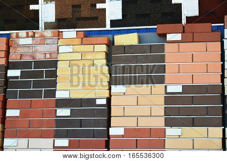 Different types facing bricks in the store