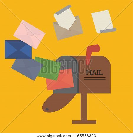 open mailbox with envelope flat design vector icon