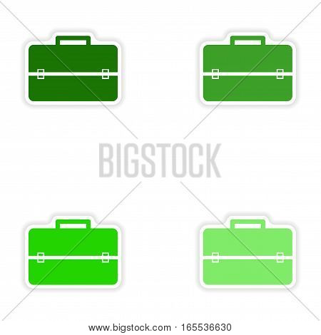 Set of paper stickers on white background business suitcase