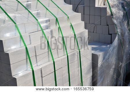 White silica bricks in a plastic packaging