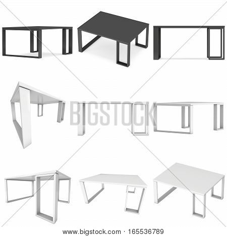 White Table Set. 3D render isolated on white. Platform or Stand Illustration. Template for Object Presentation.