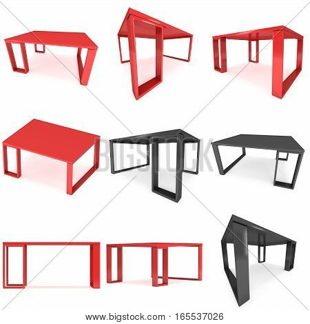 Red Table Set. 3D render isolated on white. Platform or Stand Illustration. Template for Object Presentation.