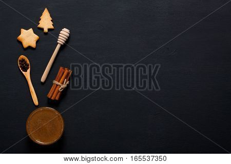 Baking Background With Cookies, Honey And Kitchen Tools