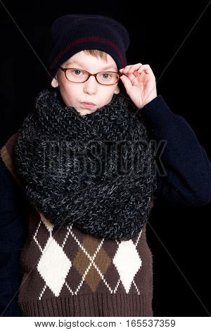 Small Boy Nerd In Glasses
