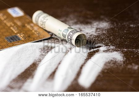 Cutting Cocaine with Credit Card Illegal Drug