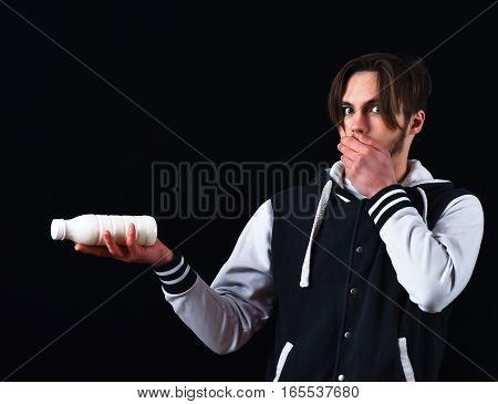 Surprised Guy In Baseball Jacket