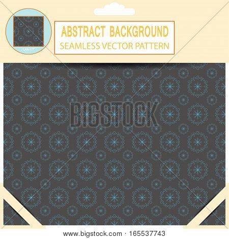 Vector seamless abstract dark gray and blue pattern in the package with pattern unit and shadow.