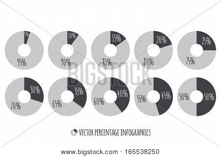 5 10 15 20 25 30 35 40 45 50 percent grey Circle Charts. Percentage vector infographics. Business Illustration