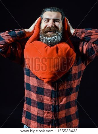 Bearded Man With Heart Pillow