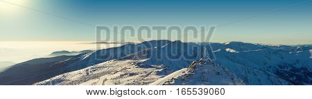 Panoramic View From Chopok Mountain At Southern Part Of Jasna Resort, Slovakia. Filtered Image: Cros