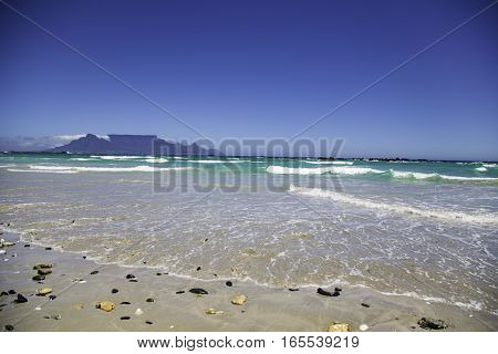 Table Mountain from Blouberg Beach in Cape Town
