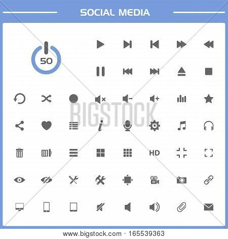 50 Social media icons set on white and blue background