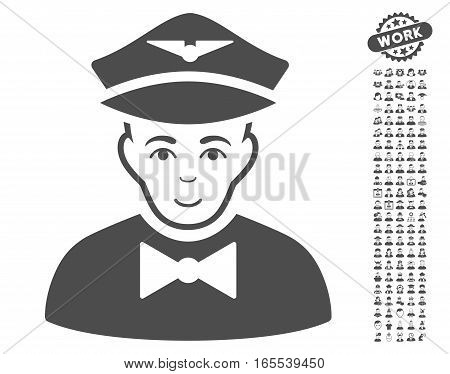 Airline Steward icon with bonus occupation pictograph collection. Vector illustration style is flat iconic gray symbols on white background.