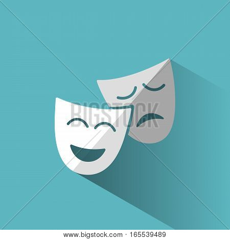 Isolated mask icon with blue shadow illustration
