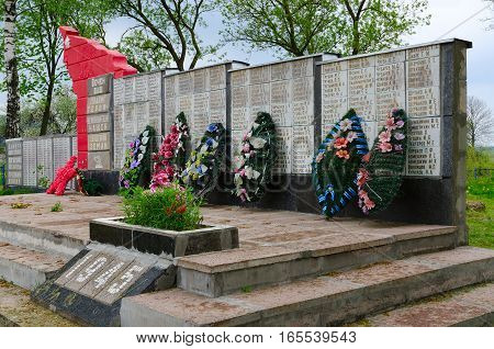 SHERSTIN BELARUS - MAY 4 2016: Monument to soldiers who died in Great Patriotic War agricultural town Sherstin in Vetka district Gomel region Belarus
