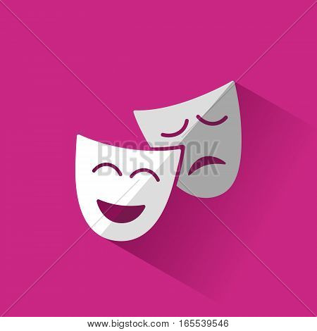 Isolated masks icon with pink shadow illustration