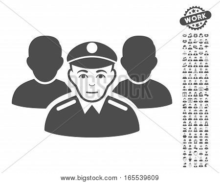 Army Team pictograph with bonus avatar clip art. Vector illustration style is flat iconic gray symbols on white background.