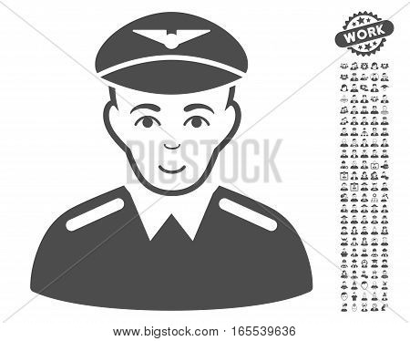 Aviator icon with bonus men icon set. Vector illustration style is flat iconic gray symbols on white background.
