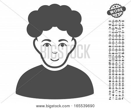 Brunet Man pictograph with bonus men pictures. Vector illustration style is flat iconic gray symbols on white background.