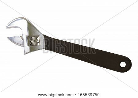 wrench with a black handle on a white background