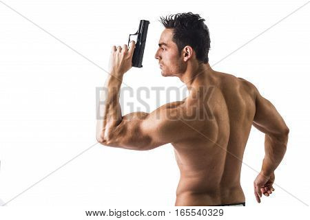 Half body Shot of a Handsome Athletic Man with no Shirt Holding a Handgun While Looking to the Left of the Frame. Isolated on White Background.