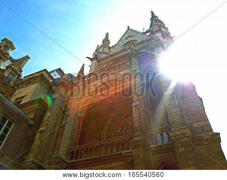 The Sainte Chapelle (Holy Chapel) against the sun in Paris France