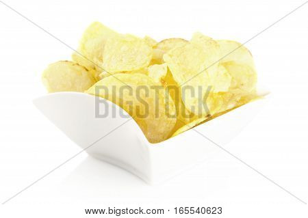 Salted Potato Chips In The Bowl On White