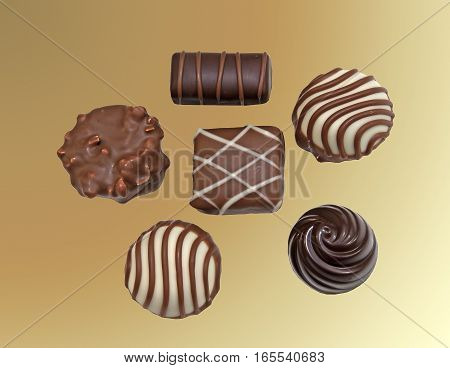 Variety of delicious pralines on a white background