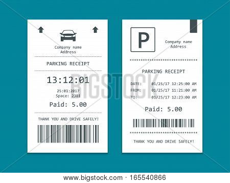 Isometric set of Parking tickets. Flat illustration icon for web.